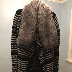 Sweaters - Faux fur cardigan